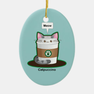 Cute Cat Coffee Christmas Ornament