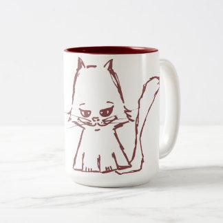Cute cat coffee mug maroon