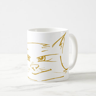 Cute cat coffee mug mustard