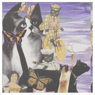 Cute Cat Collage 4 Fabric