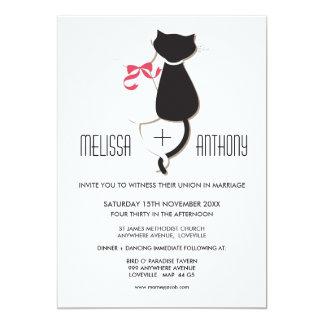 Cute Cat Couple Stripes Wedding Invite
