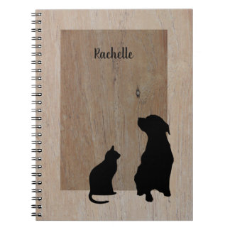 Cute cat &  dog silhouettes on wood notebook
