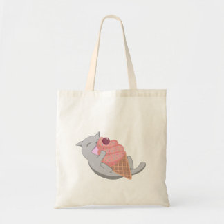 Cute Cat Eating Pink Ice Cream Tote Bag