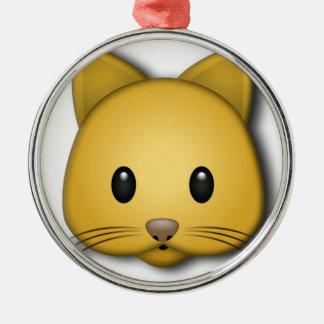 Cute Cat Emoj Style Design Silver-Colored Round Decoration