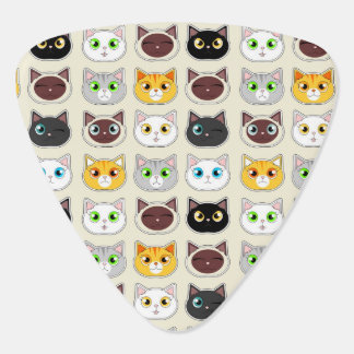 Cute Cat Expressions Pattern Guitar Pick
