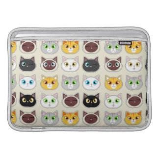 Cute Cat Expressions Pattern MacBook Sleeve