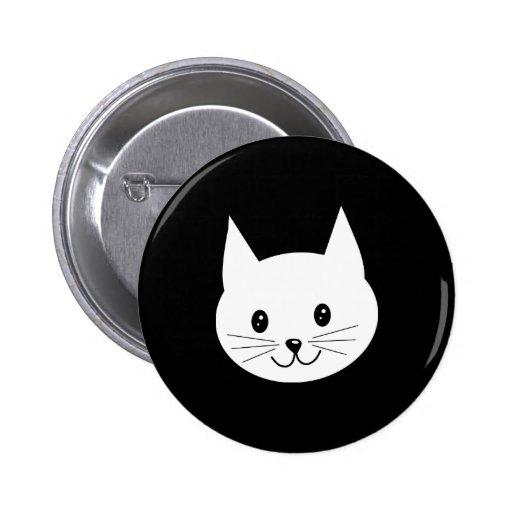 Cute Cat Face. Pinback Buttons