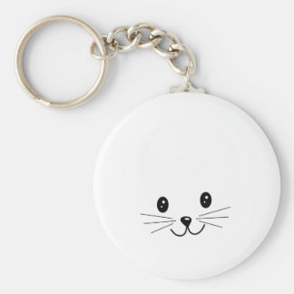 Cute Cat Face. Basic Round Button Key Ring