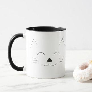 Cute Cat Face - black Mug