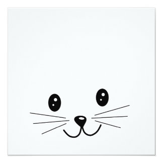 "Cute Cat Face. 5.25"" Square Invitation Card"