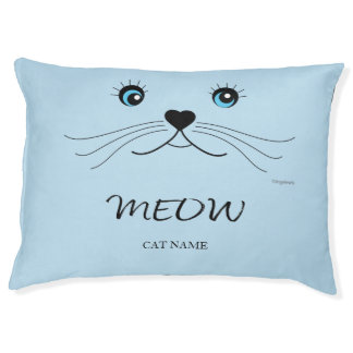 Cute Cat Face MEOW Personalized Cat Pet Bed