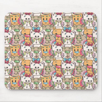 Cute Cat Face Pattern Mouse Pad