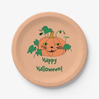 Cute Cat Face Pumpkin Happy Halloween Plates