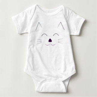 Cute Cat Face - purple Baby Bodysuit
