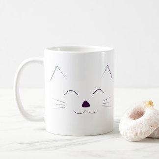Cute Cat Face - purple Coffee Mug