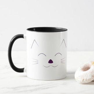 Cute Cat Face - purple Mug