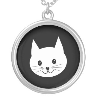 Cute Cat Face. Silver Plated Necklace