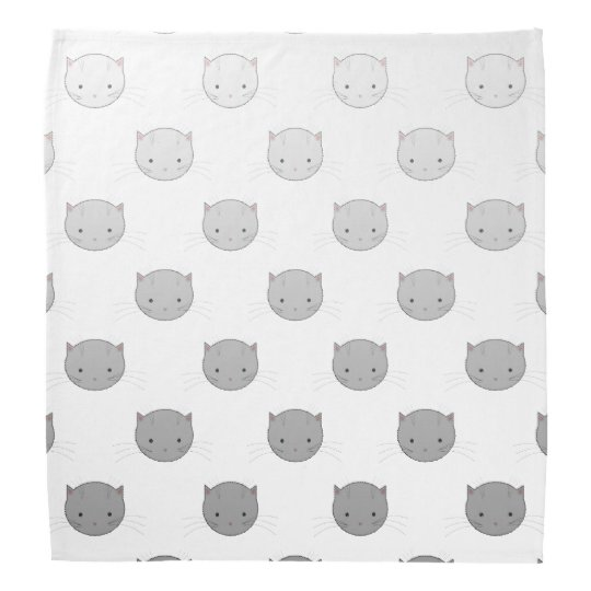 Cute Cat Faces Pattern Grey Bandana