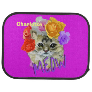 Cute Cat Flowery Rose Headdress Meow Personalized Car Mat