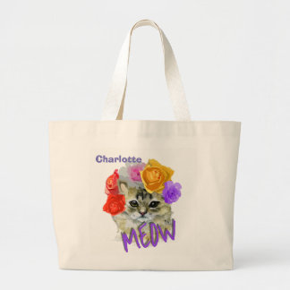 Cute Cat Flowery Rose Headdress Meow Personalized Large Tote Bag