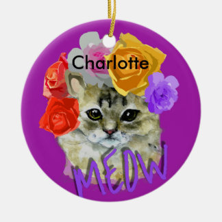 Cute Cat Flowery Rose Headdress Meow Personalized Round Ceramic Decoration