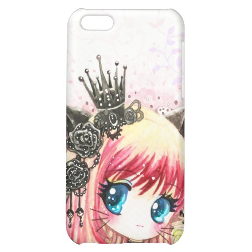 Cute cat girl in black lolita outfit case for iPhone 5C