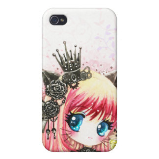 Cute cat girl in black lolita outfit covers for iPhone 4