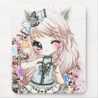 Cute cat girl in lolita style mouse pad