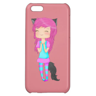 Cute cat girl Iphone 5c glossy case Cover For iPhone 5C
