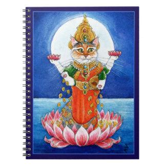 Cute cat Hindu goddess Lakshmi Notebook