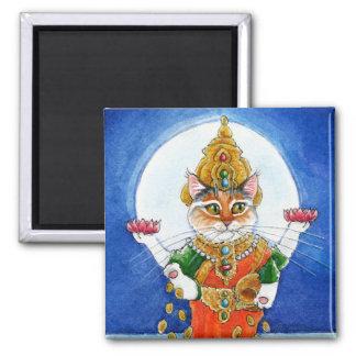 Cute cat Hindu goddess Lakshmi Square Magnet
