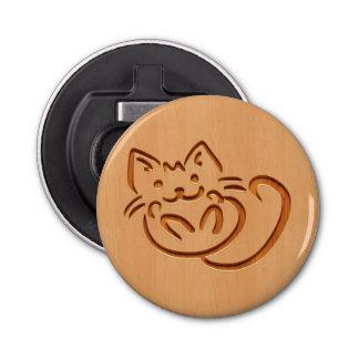 Cute cat illustration engraved on wood design bottle opener