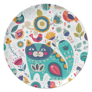 Cute Cat Illustrations Hand Drawn Elements Prints Party Plate