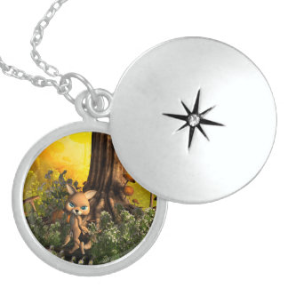 Cute cat in a fairy tale forest lockets