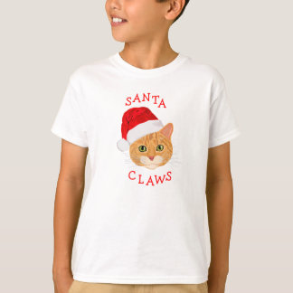 Cute Cat in Santa Hat Christmas T-Shirt