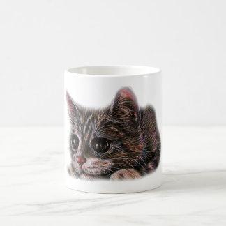 Cute Cat Kitten Art Drawing for Cat Lovers Basic White Mug