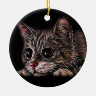 Cute Cat Kitten Art Drawing for Cat Lovers Round Ceramic Decoration