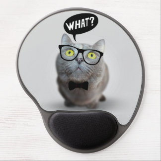 Cute Cat kitten with glasses what quote funny Gel Mouse Mat