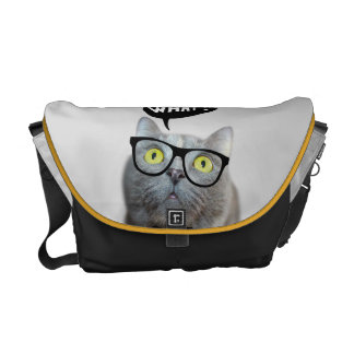 Cute Cat kitten with glasses what quote funny Messenger Bags