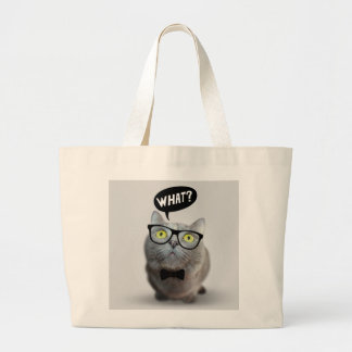 Cute Cat kitten with glasses what quote print Bags