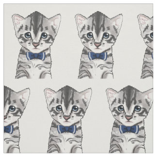 Cute cat kitty kitten with bow fabric
