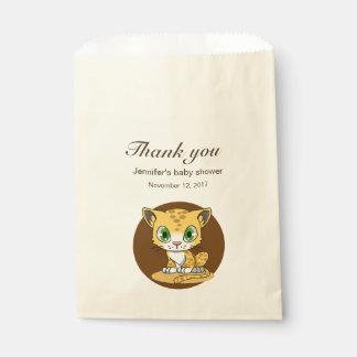 Cute cat leopard cartoon baby shower thank you favour bags