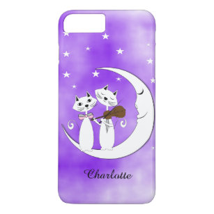 Cute Cat Lovers On Crescent Moon Personalised Case-Mate iPhone Case