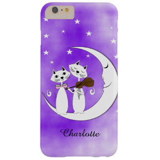 Cute Cat Lovers On Crescent Moon  Personalized Barely There iPhone 6 Plus Case