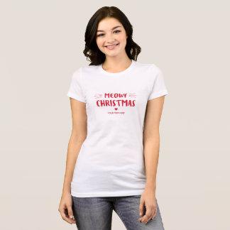 Cute Cat Meowy Christmas | Custom Holiday T-Shirt