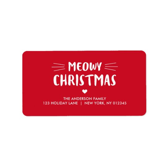 Cute Cat Meowy Christmas | Holiday Label