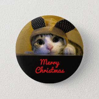cute cat merry christmas 6 cm round badge