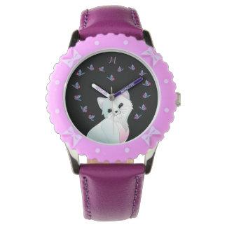 Cute Cat Monogram Purple Watch