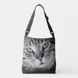 Cute cat monogram tote bag