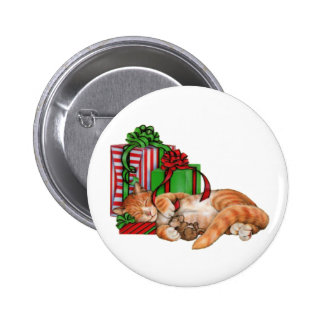 Cute Cat, Mouse and Christmas Presents 6 Cm Round Badge